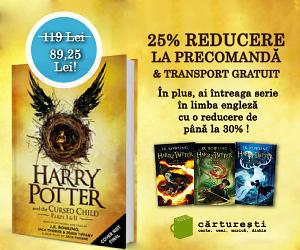 imagine cu cartea Harry Potter - The cursed child - reducere de 25% pentru precomanda